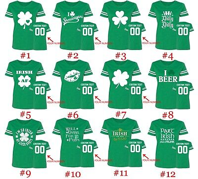 St Patty Women Jersey Shirts Name Number on Back Customized St Patricks Day Tee