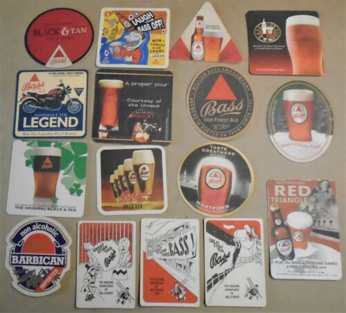 16 Different Bass Beer Coasters