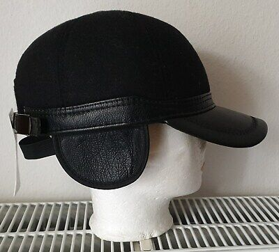 Herren Cap Mütze Kappe Hut Basecap Hat Jockey Ohrenklappen verstellbar schwarz  Klappe Hat