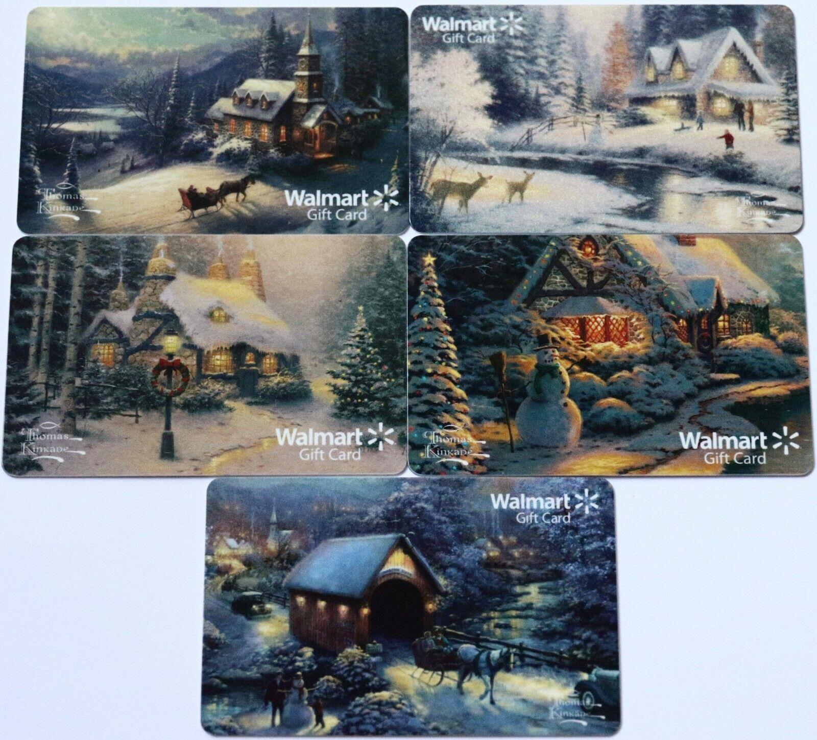 5 Walmart Christmas Winter Motifs Snowman Empty Gift Card Collectible Lot USA - $6.99
