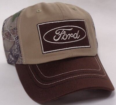 Hat Cap Licensed Ford Oval Patch True Timber Camo Brown Tan CF ()