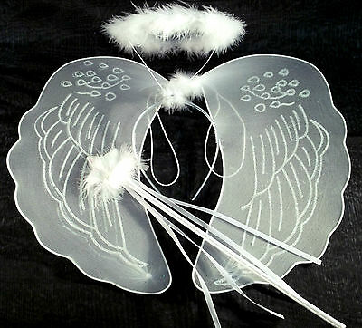 Large White Angel Wings, Halo and Wand Fancy Dress Fairy Set Nativity Angel