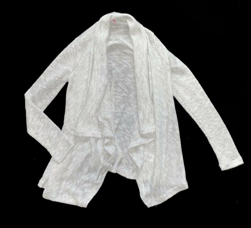 Splendid girls silver sparkly open cardigan sweater 12