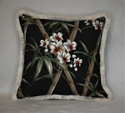 tropical black white bamboo floral decorative throw pillow with ivory fringe Bamboo Decorative Pillow