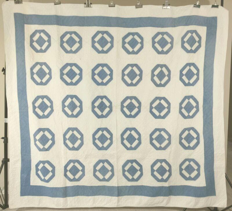Antique Blue and White Quilt c1930 9-patch Var.