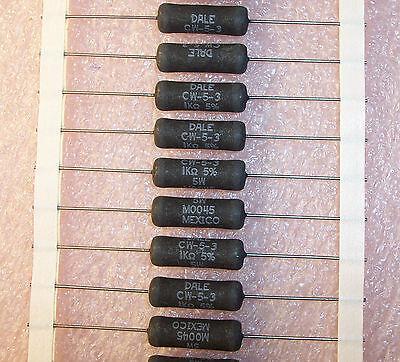 Qty 10 1k Ohm 5w 5 Axial Wirewound Resistors Cw5-3-1k-5 Dale Vishay