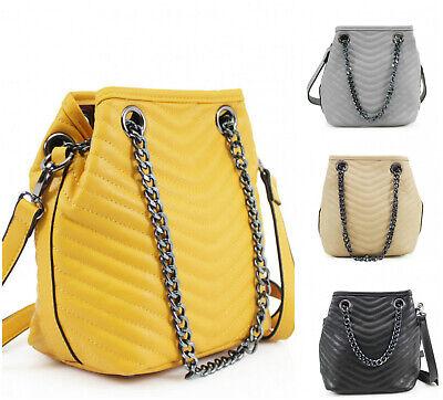 Ladies Quilted Bucket Bag Women Chain & Shoulder Strap Messenger Handbag 922