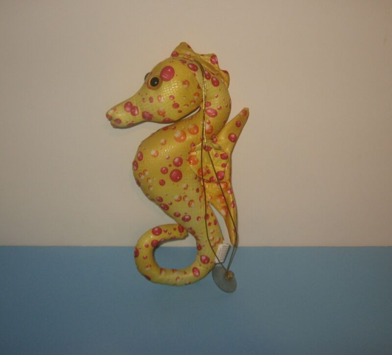 """Yellow Red Bubbles 12"""" Seahorse Suction Window Cling Stuffed Plush by Fiesta"""