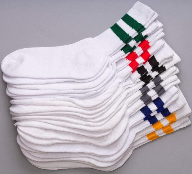 12 Pairs 1 Dozen Old School Striped Crew Socks Retro Athletic Casual Classic