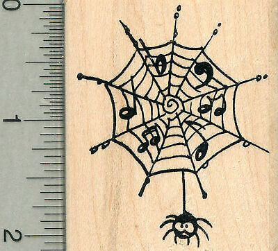 Music Stamp Series - Musical Spiderweb Rubber Stamp, Music Series H34507 WM