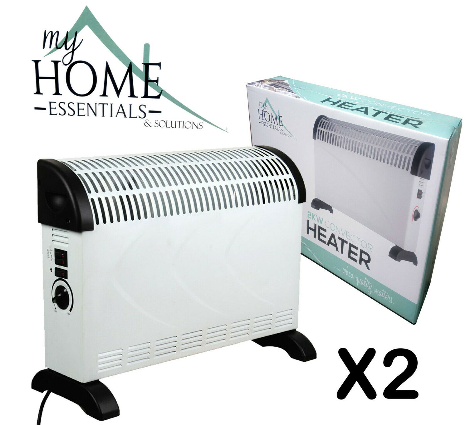 2KW Convector Heater Portable Space Electric 2000W Convection Office Radiator x2