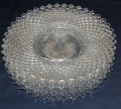 """4 WESTMORELAND GLASS ENGLISH HOBNAIL CLEAR LUNCH/DINNER PLATES, 9-1/4"""" MINT"""