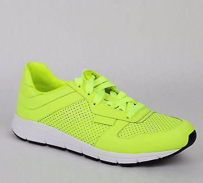 New Gucci Mens Neon Yellow Leather Lace-up Running Sneakers 369088 7102