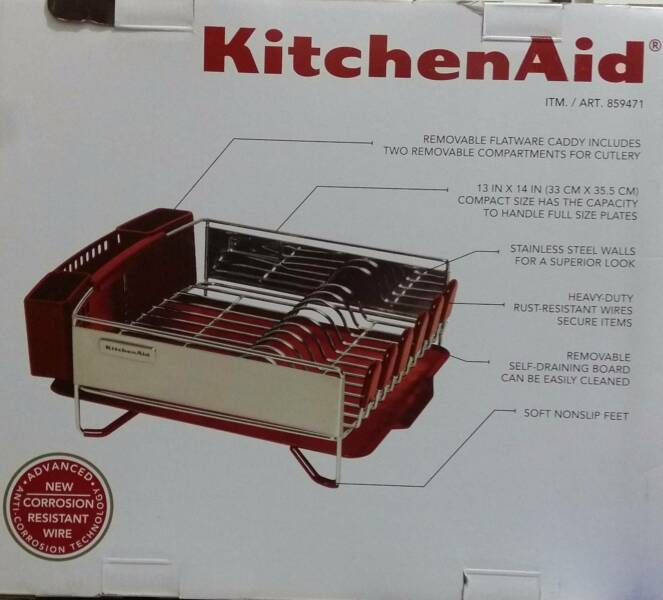 Kitchen aid kitchenaid 3 pc dish drying rack plate dish drainer cup holder red ebay - Kitchenaid dish rack red ...
