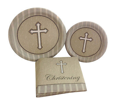Christening Paper Plates (Christening Silver Gold Cross Party Bundle with Paper Plates and Napkins for 8)
