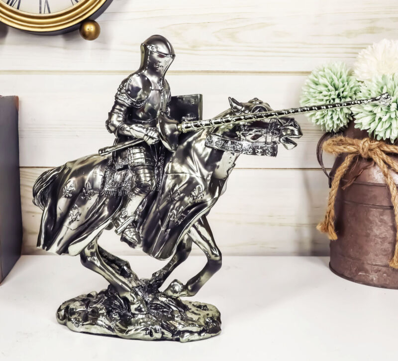 Ebros Medieval Suit of Armor Knight Jousting On Horse Statue Medieval Tournament