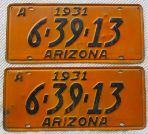 1931 Arizona License Plate (Clear for AZ YOM)
