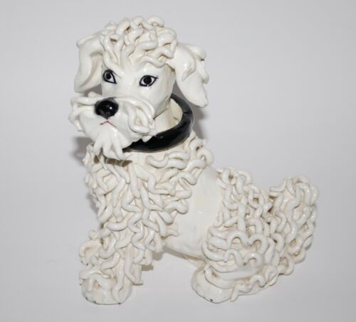 Large Vintage White Spaghetti Pottery Poodle Dog Made In Italy 1950