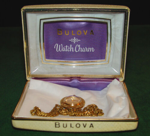 Vintage Bulova Ladies Pendant, Necklace, Charm Watch in Box