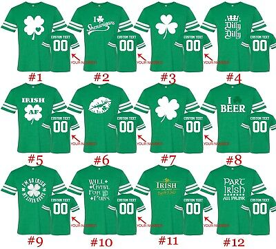 Customized St. Patricks Day Tee Football Jersey Shirts Text Name Number St Patty ()