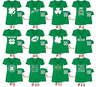 Womens St Patricks Day Shirts V Neck Style Name Number Custom St Patty Day Tee