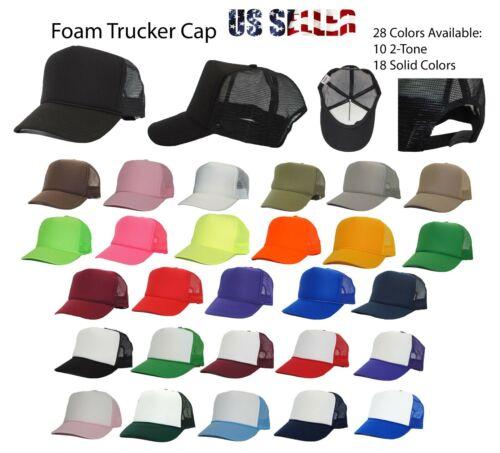 Trucker Hat Foam Mesh Baseball Cap Adjustable Snapback Solid Plain Men Hats