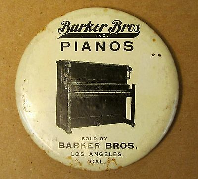 1920's or older BARKER BROS. PIANOS Los Angeles advertising pocket mirror