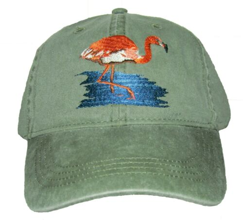 Flamingo Embroidered Cotton Cap NEW Bird