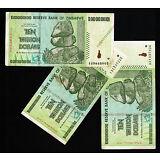10 Trillion Zimbabwe Dollars x 3 Bank Notes ~ AA 2008 ~ Series 50 & 100 Trillion
