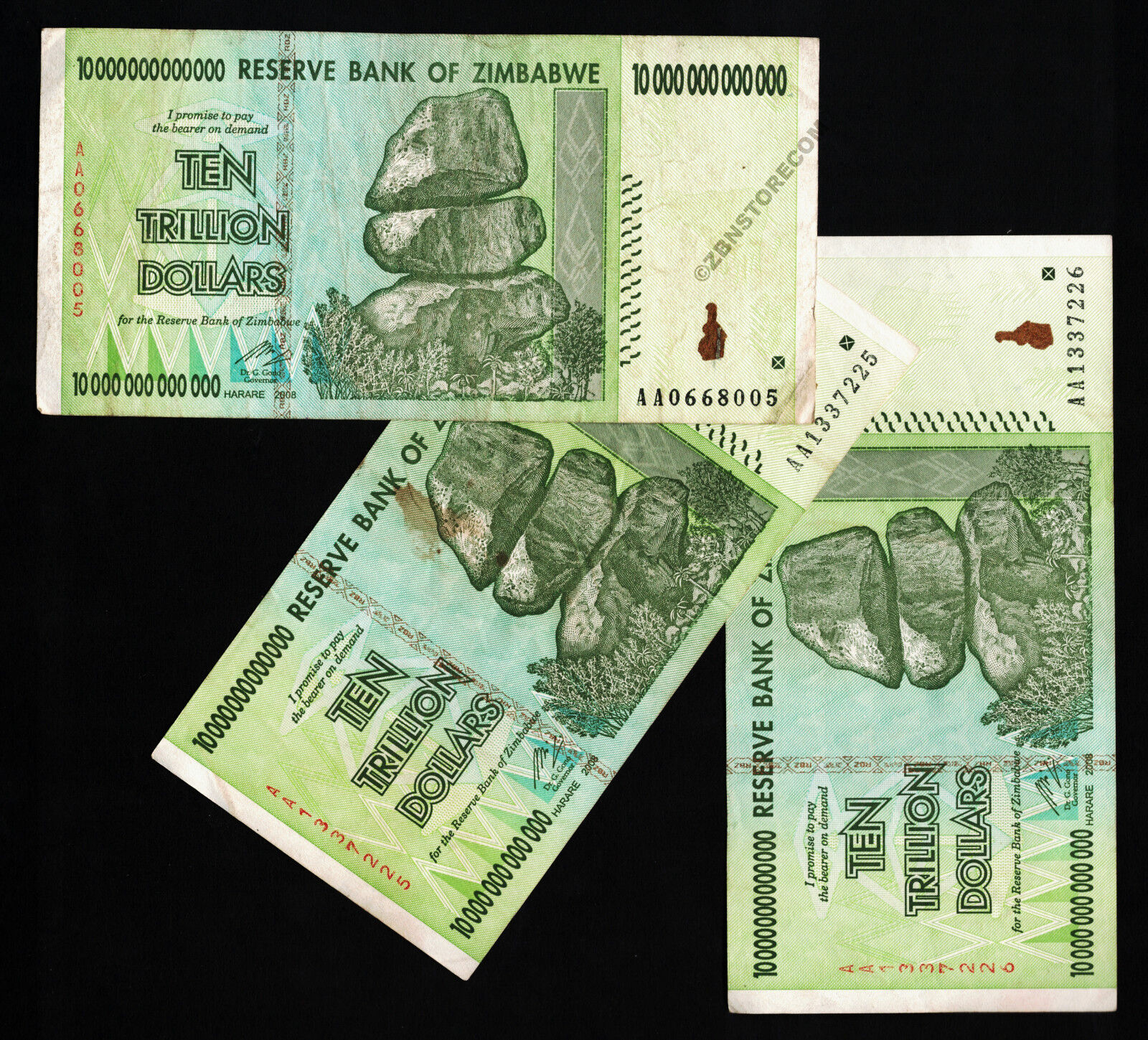 10 Trillion Zimbabwe Dollars x 3 Banknotes AA 2008 Currency Paper Money Set 3PCS