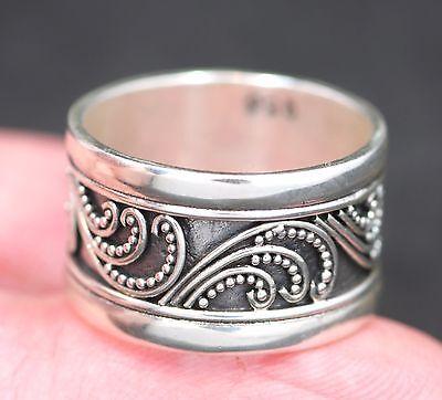 Handmade Solid .925 Sterling Silver Bali Beaded/Swirl Designed Unisex Band Ring.