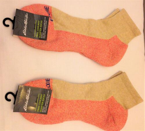 2 pair New Ladies Eddie Bauer Low Cut COOLMAX Ankle/Quarter Socks Coral/Tan