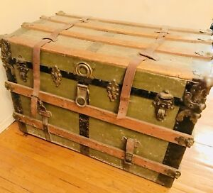 Antique Trunk - Beautiful Green, wood, leather and steel