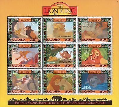 Disney Stamps - Uganda Lion King - Disney sheet of 9 Stamps #3 MNH