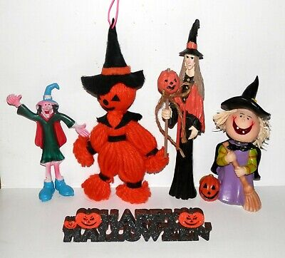 Vintage Halloween Resin, Rubber, Yarn Witch Lot of 4 and Happy Halloween Banner