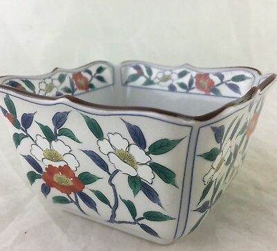 SMALL PORCELAIN BOWL/DISH SQUARE PANELED HAND PAINTED LOTUS FLOWER ASIAN