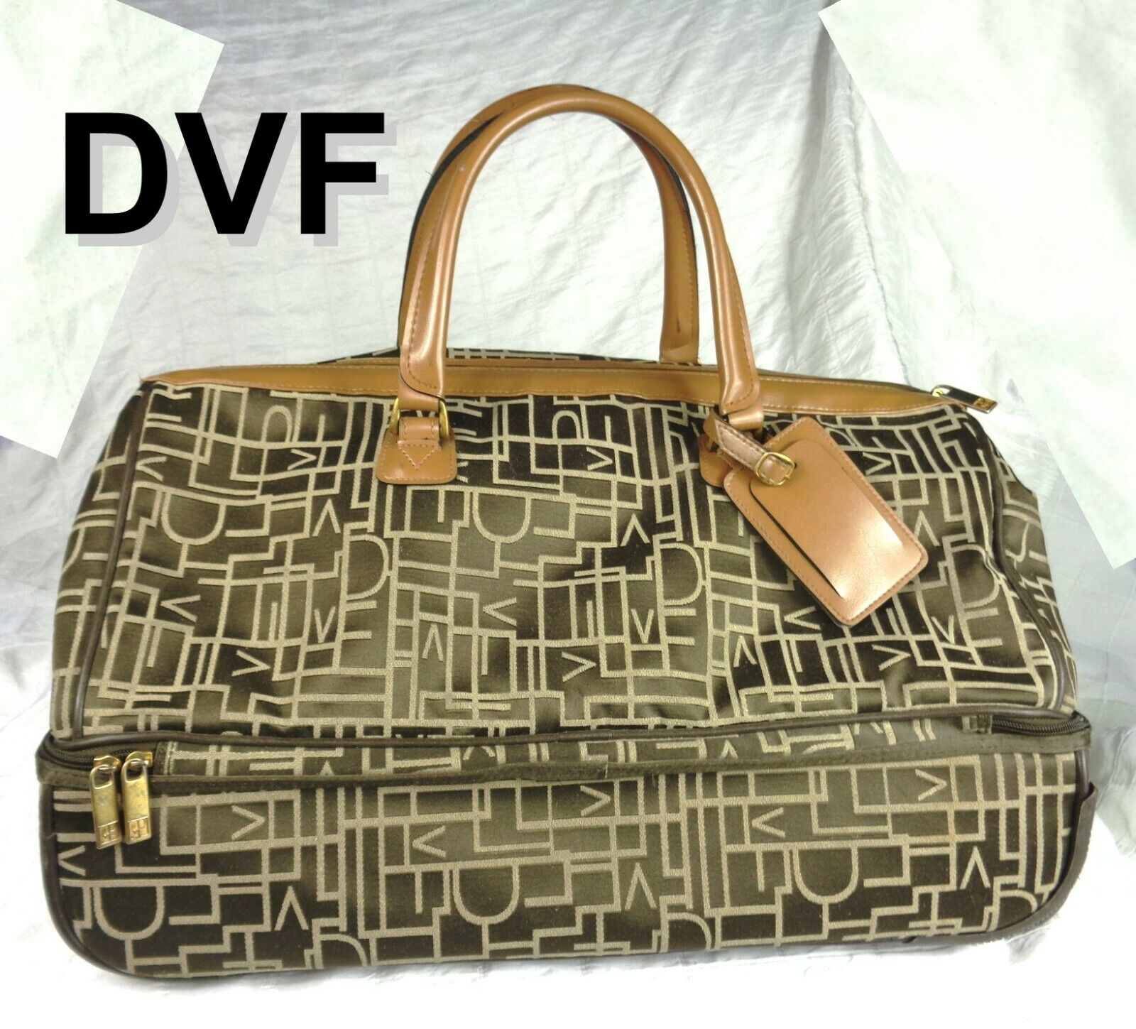 DVF Diane Von Furstenberg Brown Beige Logo Canvas Wheeled Duffle City Bag  - $57.99