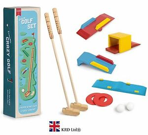 CRAZY GOLF SET Kids Wooden Golf Summer Outdoor Game Kit Birthday Gift Toy Box UK