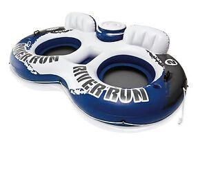 Intex River Run II Inflatable 2 Person Pool Tube Float w/ Cooler and Repair Kit