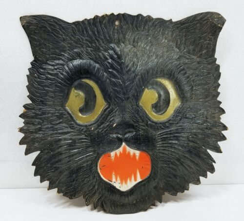 Antique German Die Cut Embossed Halloween Spooky Cat Face Decoration