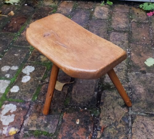 PAINTED ASH & ELM ANTIQUE MILKING STOOL - WELSH or WEST COUNTRY- RUSTIC FOLK ART