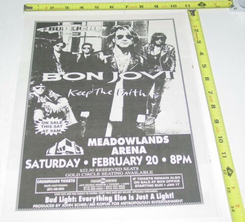 Bon Jovi Concert Ad Advert 1993 Tour Keep Faith Meadowlands Arena NJ Pop Rock