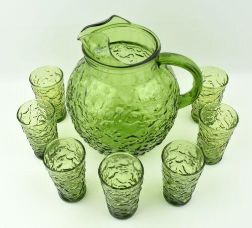 Vintage Anchor Hocking Lido Milano Avocado Green Ball Pitcher & 7 Juice Glasses