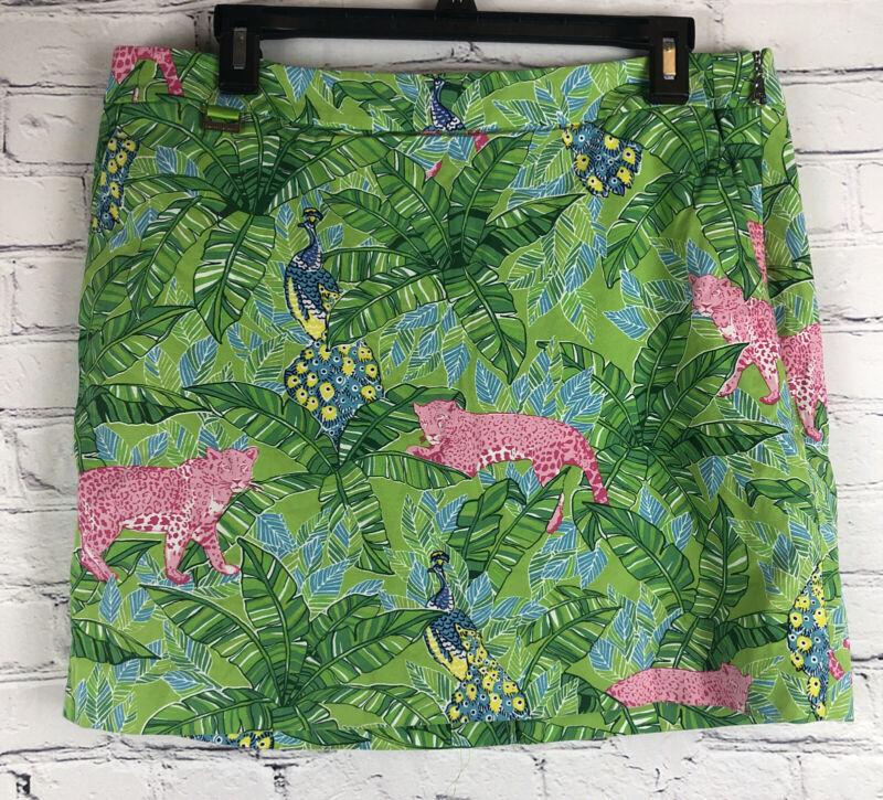 Polo Golf Ralph Lauren Jungle Print Skort Size 10 With Pockets Cotton Blend