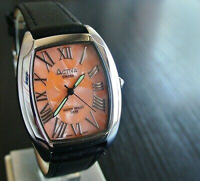 VINTAGE SWISS ACTIVA INVICTA SPORT ROMAN QUARTZ MEN'S SILVER LEATHER DRESS WATCH