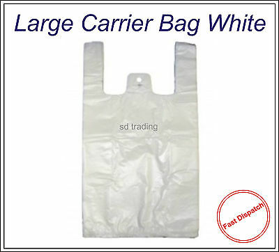 200 White Large HD Vest Style Plastic Carrier Bags 11