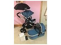 Icandy peach stroller in Gumdrop with pram and carrycot including all accessories