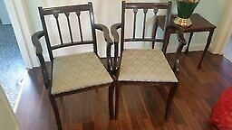 Mahogany Carver Chairs x 2 with pale green seat cushions