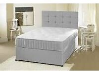 Good Quality Strong Grey Divan Bed Base and Matching Fabric Cubed-Buttoned Bubbly Headboard