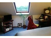 En suite with a view, room in a lovely attic, lift & parking underneath in 2 bedroom shared flat.